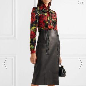 Dolce & Gabbana Red Rose stretch Print Silk Blouse